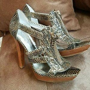 Jessica Simpson snakeskin print platform sandals